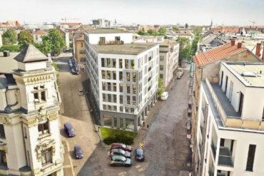 Chopin Spitze Leipzig, denkmalgerechte Sanierung und Umbau eines Altbaus und Neubau einer Wohnanlage